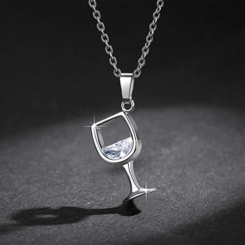 DIAOZHUIGE Glänzende Zirkonia Weinglas Anhänger Halsketten Silber/Gold/Rose Gold Kette Weibliche Choker Halsketten Modeschmuck Geschenke Für Frauen