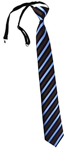 TigerTie Security Sicherheits Krawatte in blau braun marine gestreift - vorgebunden mit Gummizug in schwarz