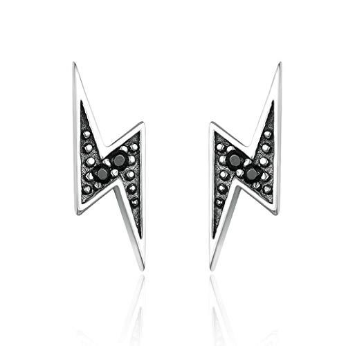 Wanfor Ohrringe, Blitzform, Ohrstecker, 925 Sterling Silber, eingelegter Zirkon Ohrring für Frauen