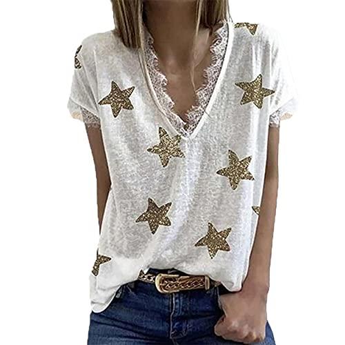 Camiseta De Encaje Estampada con Cuello En V De Verano, Camiseta Holgada Informal De Mujer, Camiseta BáSica De Manga Corta, Camiseta De Mujer, Ropa De Mujer
