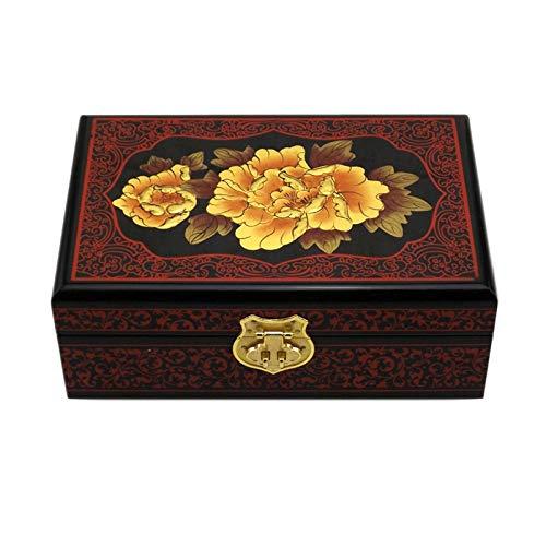 GAONAN Caja de almacenamiento de joyas de la vendimia, caja hecha a mano de madera, con bloqueo de metal, caja de almacenamiento de necesidades diarias, adecuada para anillo de pendiente anillo y puls