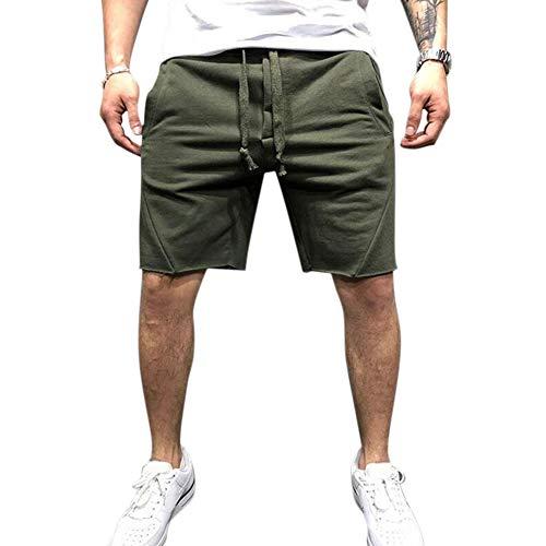 Enticerowts Mode Couleur unie Été Sports Casual Fitness Course Shorts Hommes Pantalons de Survêtement Multifonction Maison Gym Fitness Décoration S Vert