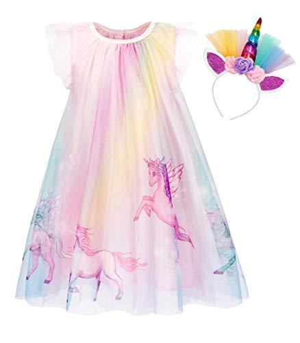 AmzBarley Vestido Princesa de Unicornio Fiesta Niña Tutu Cosply Cumpleaños,Disfraz Tutu Princesa...