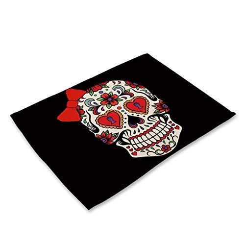 1 stks schedel patroon placemat eettafel matten drink onderzetters katoen linnen pads cup matten 42 * 32 cm keuken accessoires MC0026,2CD-MC0026-15