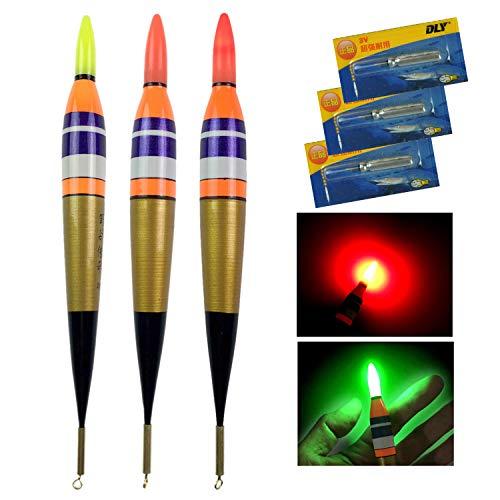 QualyQualy 3 Stück LED Posen Angelposen Nachtangeln Leuchtpose 3#