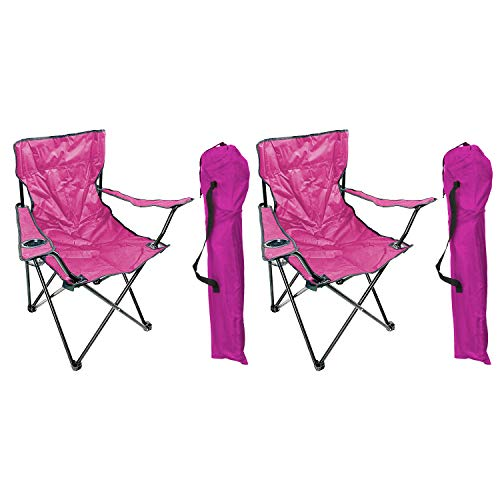 Mojawo 2'er Set Anglersessel Campingstuhl Faltstuhl Anglerstuhl Regiestuhl Pink mit Getränkehalter und Tasche