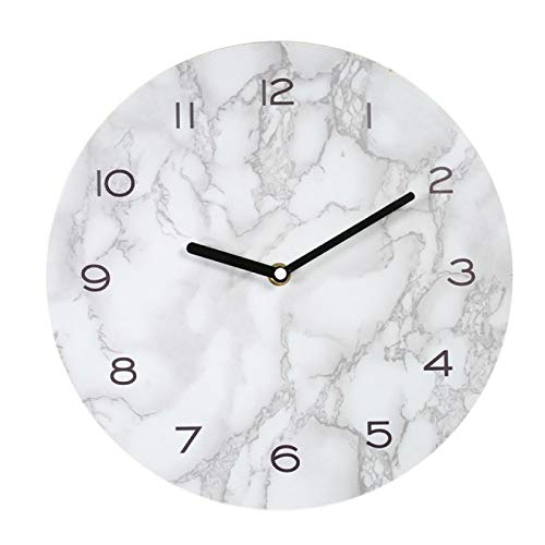 hufeng Reloj de Pared Reloj de Pared con Efecto de mármol Decoración del hogar Reloj Colgante preciso y ordenado Temporizador 2018 Reloj de Pared Redondeado Diseño Moderno Fácil de Instalar