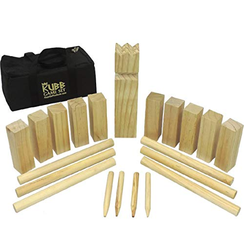 "EasyGoProducts Kubb The Viking Wooden Outdoor Lawn Game Set - One 2 3/4"" x 12"" King, Ten 1.75"" x 6"" Kubb Blocks, Six 1"" Diameter x 12"""