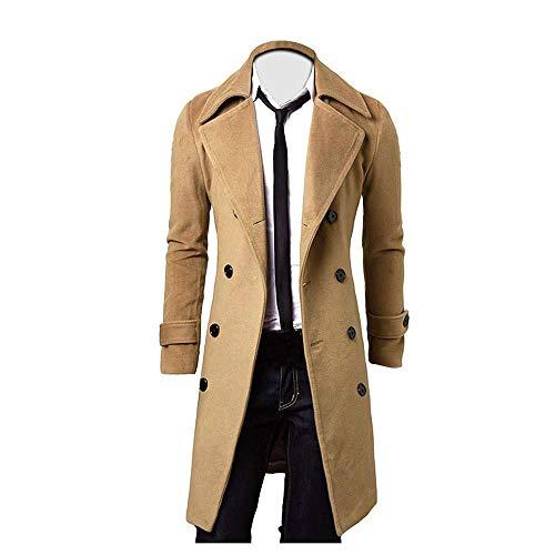 VJGOAL Chaqueta de Hombre Parka Abrigo Invierno Cálido Moda Gabardina Larga Vintage Solapa Cruzada Abrigos de Color sólido