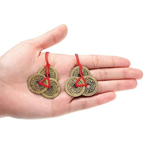 Moneda de la Fortuna China, 15 Piezas, 5 Monedas de Estilo Tradicional de Feng Shui, con Hilo Rojo, para Viajes de longevidad con Seguridad, Riqueza, éxito y Buena Suerte (2,4 cm)(Bronce)
