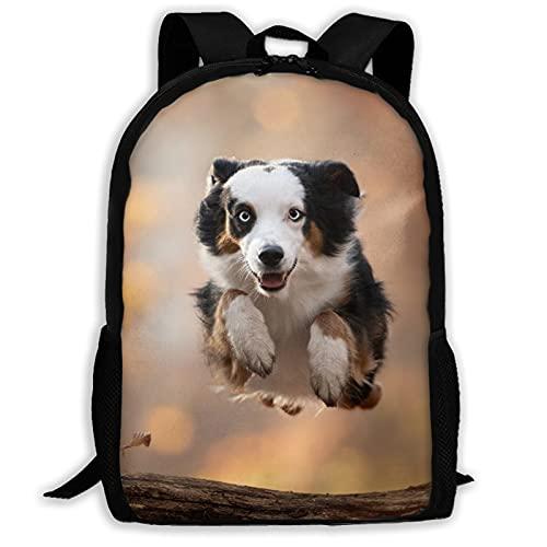 Mochila de viaje para perro y al aire libre con diseño de pastor australiano, para portátil, capacidad de libros, ligera, bolsa de papelería para niñas, niños, escuela, mujeres, hombres, oficina