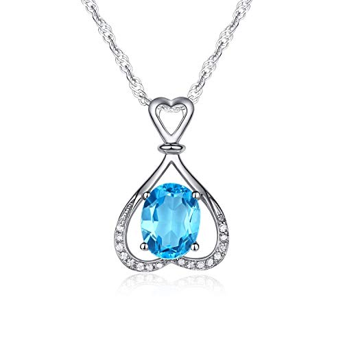 Ideal Gifts Natural Swiss-blue Topaz Gemstone Heart by Heart Style with 925 Sterling Silver Necklace Pendant,18""