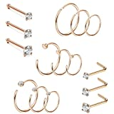 Jstyle 20G 15 Pcs Stainless Steel Nose Rings Studs L-Shape Piercing Body Jewelry 1.5mm 2mm 2.5mm 3mm (E:15Pcs Rose Gold-Tone)
