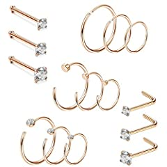 DIY NOSE RING-- 15Pcs Nose ring set, including 3Pcs straight stud rings, 3Pcs L-shaped rings, 3Pcs Hoop rings, 3Pcs CZ hoop rings and 3Pcs C-shaped rings, simple and elegant design for daily jewelry. Easy to open and close. Perfect for women, men at ...