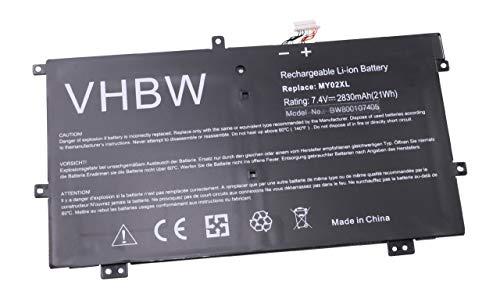 vhbw Batterie Li-Polymer 2830mAh (7.4V) pour Notebook HP Slatebook x2, x2 10-H010NR, TPN-Q127 comme 721896-1C1, 722232-001, HSTNN-IB5C, MY02XL.