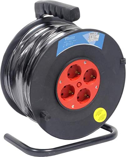 Super Power 56733 Prolongador Eléctrico con Enrollador, 50 m