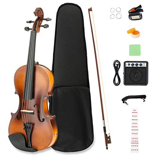 LAGRIMA Beginner Electric Violin 4/4,Beginner Violin Notes Sticker, Handcrafted Acoustic Violin Starter Kit, Case, Bow, Tunner,Rosin and Chin Rest,Powerful Amp
