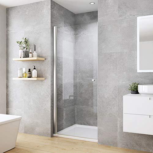 Heilmetz 90 x 185 cm Pendeltür Dusche Duschabtrennung Duschtür mit Beidseitiger Nano Beschichtung 6mm ESG Glas