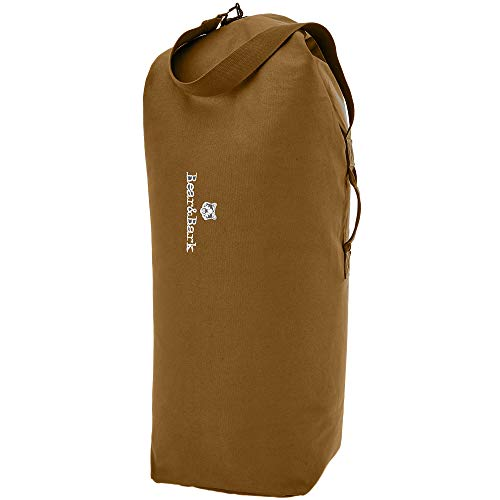 Top Load Canvas Duffel Bag - Coyote Brown 34x20' - 55L - Military and Army Cargo Style Carryall Duffle – Extra Large College Student, Backpacking, Travel and Storage Shoulder Bag