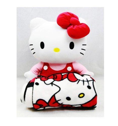 Sanrio Hello Kitty Large Plush and Fleece Throw Bed Blanket 2 pieces Set by Sanrio