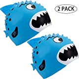 SATINIOR 2 Pieces Kids Swim Cap, Fun Silicone Swim Caps for Boys and Girls, Fit for Children 3 to 12 (Blue)