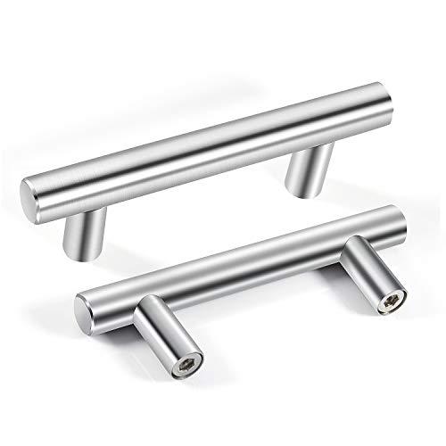 Tirador de cajones MOOKLIN Tiradores de barra en Acero Inox Manijas en Forma de T para armarios de cocina (12 Pcs) - Centros de agujeros : 64mm