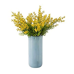 WYWY Artificial Yellow Acacia Flowers Mimosa Plush Silk Flower Fake Flower Vase Set Home Wedding Party Table Decor (Color : Blue vase+Flower)