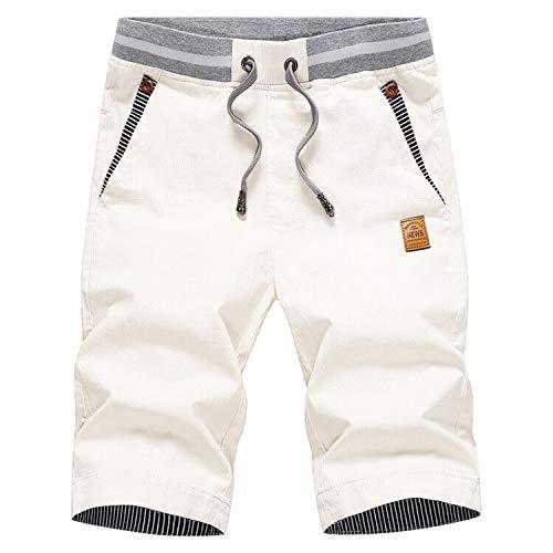 Tansozer Hombre Lino Algodón Pantalones Cortos Verano Casuales Shorts Ligero Chino Pantalones De Playa con Cordones Elásticas Ajustable Cintura Bolsillos Blanco L