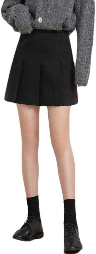 ERTYUIO Limited time sale Women's Skirts Woolen Pleated V Korean Thin In stock Skirt Female