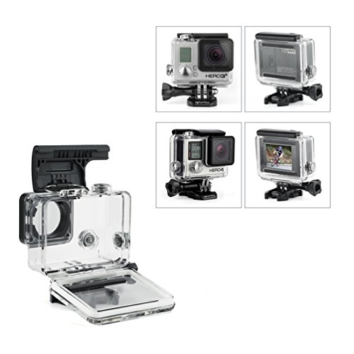 Standard Protective Waterproof Dive Housing Case for GoPro Hero 4, 3+, and 3 Camera and BacPac Backdoor for Extended LCD Screen or Expansion Battery - Up to 40 Meters Underwater - Transparent Clear