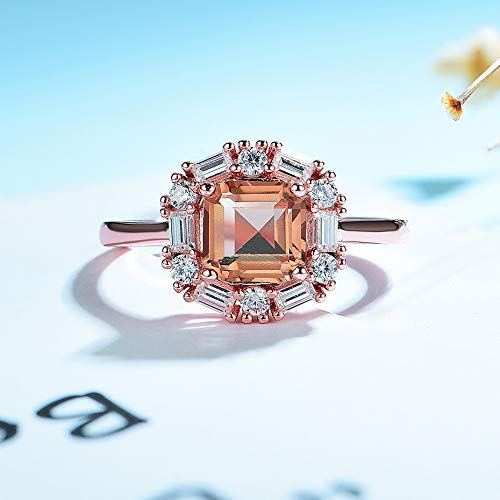 XKMY Jewellery for Women 585 rose gold Luxury Asscher gemstone Jewelry Set for Women Real 925 Sterling Silver Zultanite Ring Earrings for Bride (Gem Color : Zultanite, Metal color : Rose Gold Color)