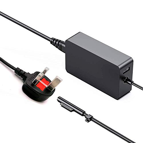 EU Certification Charger Surface,65W 15V 4A Power Supply Adapter for Microsoft Surface Pro X/3/4/5/6/7,Surface Laptop/Go/Book,with USB port and UK Extension Power Cord 1706