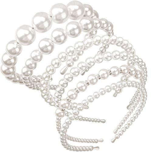 TOBATOBA 6 Pack Pearls Headbands White Faux Pearl Rhinestones Hairbands Bridal Hair Hoop Wedding Hair Accessories for Women,6 Style