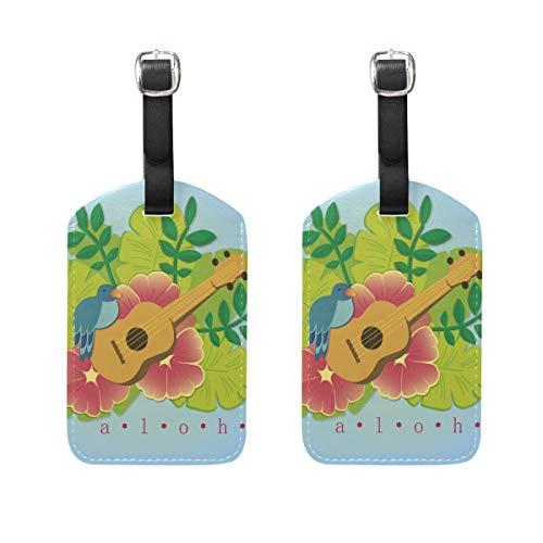 LINDATOP Aloha con ukelelelele, etiquetas de viaje para maleta (2 unidades)