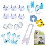 LCV Baby Safety proofing kit- 20 Pieces | 6 Outlet Plug Covers, 4 Corner Protectors, 7 Locks for Cupboards and Fridge, 2 Finger Pinch Guard Door Stoppers + Safety Guide | Acrylic Glue