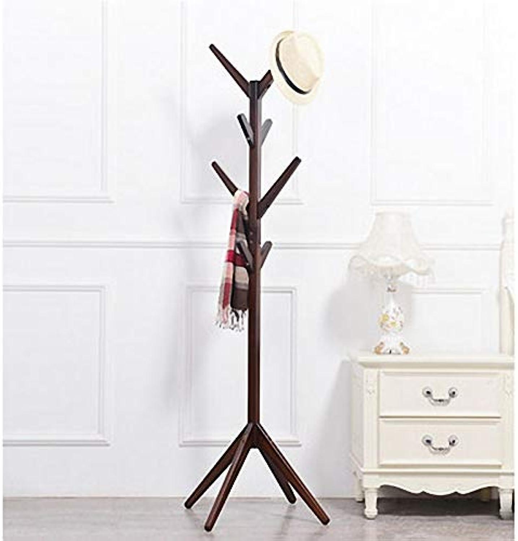 Coat Rack Solid Wood Tree Coat Rack European Style Hotel Floor Clothes Rack Simple Creative Hanger Save Space (color   Brown)