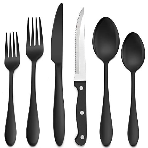 LIANYU 48-Piece Black Silverware Set with Steak Knives, Stainless Steel Flatware Cutlery Set for 8, Tableware Eating Utensils, Mirror Finished, Dishwasher Safe
