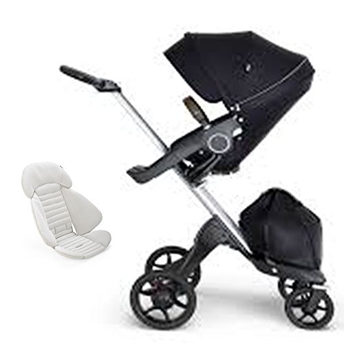 Great Features Of Stokke Xplory Silver Chassis, Seat - Black/Brown Leatherette Handle & Seat Inlay -...