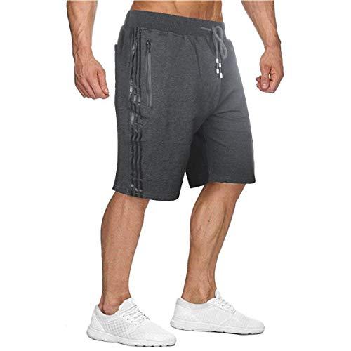 Herren Sport Joggen und Training Shorts Fitness Kurze Hose Jogging Hose Bermuda Reißverschlusstasch (Dunkelgrau, XXL)