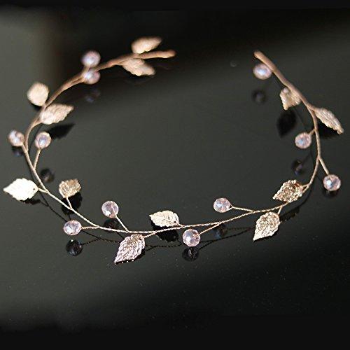 Handmadejewelrylady Hochzeits-Haarschmuck mit Strasssteinen, Roségold, Haarband, im Weinrebenstil, Damenkopfschmuck für Abendveranstaltungen und Partys