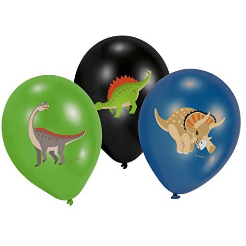 Amscan 9903988 Happy Dinosaurier - Globos de látex (6 unidades), color verde, negro y azul , color/modelo surtido