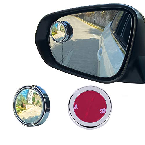 LivTee 2PCS Round Blind Spot Mirror, HD Glass and ABS Housing Convex Wide Angle Rearview Mirror with Adjustable Stick for Universal Car, Silvery