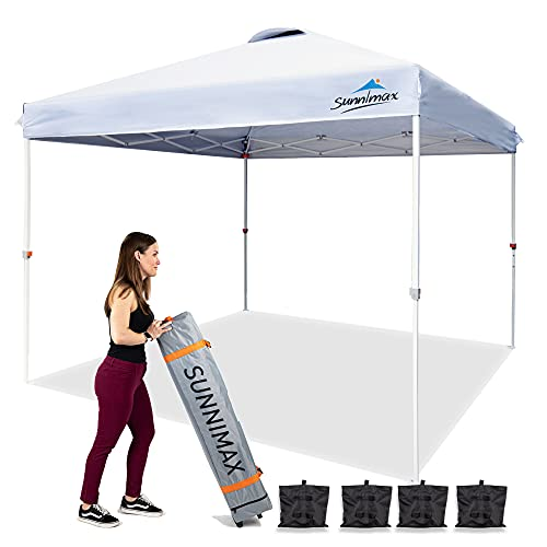 SUNNIMAX 10x10 Pop Up Canopy Tent, Portable Folding Instant Gazebo,Tents for Parties with Waterproof Roof & Roller Bag, Quick Easy Setup Outdoor Canopies Bonus 4 Weight Bags– (White)