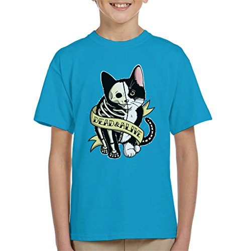 Schrodinger Cat Dead Or Alive Tattoo Style Kid's T-Shirt