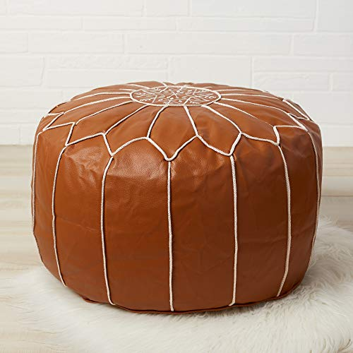 Handmade Faux Leather Unstuffed Ottoman Footstool - Living Room/Dining Room/Man Cave Decor - Moroccan Pouf Footstool - Unstuffed Leather Ottoman - Textured Finish/White Embroidery - White/Gold Piping