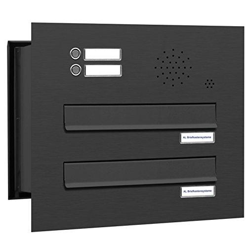 AL Briefkastensysteme 2 er Briefkasten Mauerdurchwurf in Anthrazitgrau RAL 7016 mit Klingel, 2 Fach DIN A4, wetterfeste Premium Briefkastenanlage Postkasten