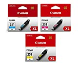 Canon CLI-251XL Cyan, Magenta, Yellow Color Ink...