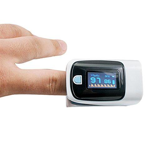 Denshine Color OLED pulsioximetro Oximetro de dedo Con Alarma Audio y Sonido Pulso- Spo2 Monitor De Oximetro De Pulso De Dedo(Azul claro)