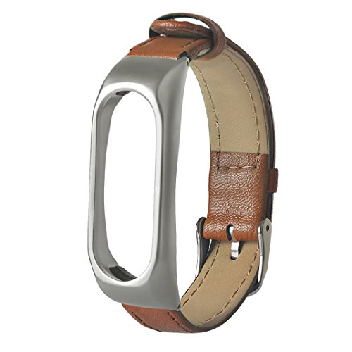 Xiaomi Mi Band 2 Armband, Feitong Geschäft Armband Leder Ersatzband Armband für Xiaomi Mi Band 2 (24.5cm*1.8cm*0.6cm, Braun)