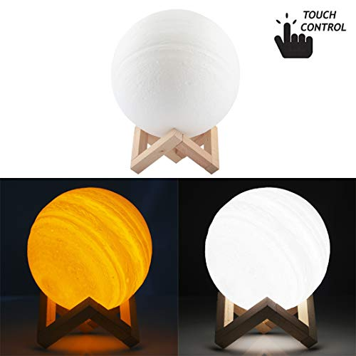 NCCZ 18cm Touch Control 3D Print Jupiter Lamp, USB Charging 2-Color Changing Energy-saving LED Night Light with Wooden Holder Base Home Decoration Lamp